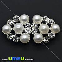 Пряжка металлическая разъемная со стразами, 55х27 мм, Светлое серебро, 1 шт (SEW-012725)