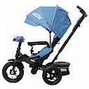 Трехколесный велосипед синий TILLY CAYMAN с усилен рамой пультом надувн колеса поворот сидение музыка свет, фото 2