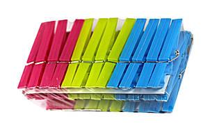 Прищепки пластиковые, неоновые 8*1 см , 24шт