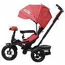 Триколісний велосипед червоний TILLY CAYMAN з посиленою рамою надувні колеса поворотні сидіння музика і світло, фото 2