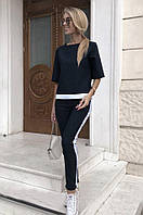 Женский костюм брючный черный с лампасами, фото 1