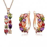 """Комплект бижутерии """"Dior"""" позолоченный с кристаллами swarovski"""