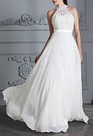 Модель свадебного платья американка из кружева с пайетками А-силуэт с длинной юбкой в пол СВ-2368