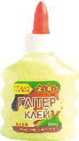 Клей НЕОН ГЛИТТЕР (для слаймов) желтый на PVA-основе, прозрачный, 88мл.  ZiBi