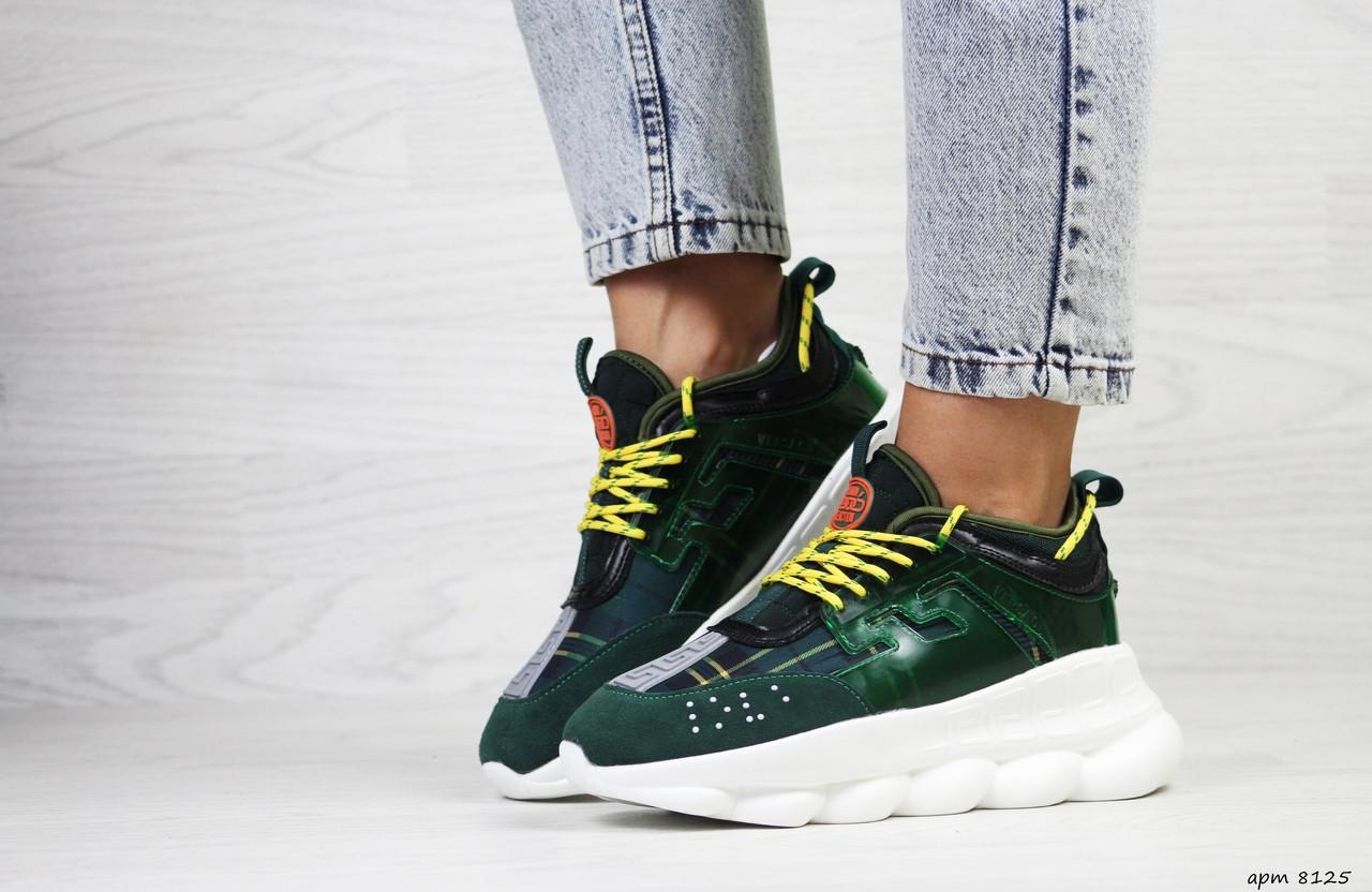 Женские кроссовки Versace (темно-зеленые)
