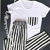Пижама женская хлопковая черная полоска  (футболка + штаны)
