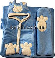 Осенний весенний комплект конверт 90х100 демисезонный на выписку из роддома с ушками махра голубой для новорожденных мальчику А-736