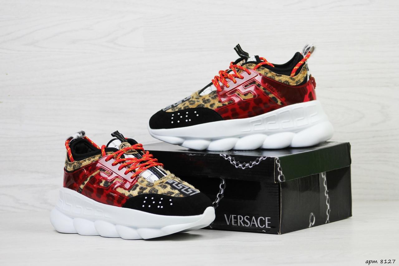 Женские кроссовки Versace (леопардовые)