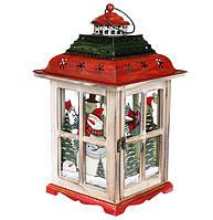 Новогодний фонарь подсвечник Снеговики 42 см