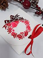 Коробка 115х115х50 мм біла новорічна, фото 1