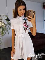 Платье - рубашка под пояс с вышивкой на груди 66mpl3297Q