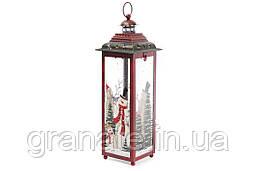 Подсвечник фонарь Снеговики 38 см, цвет: красный