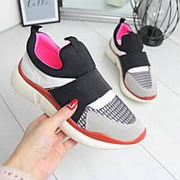 Женские кроссовки без шнуровки с яркими вставками 74OB27