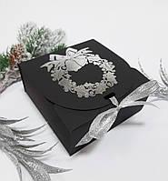 Коробка 115х115х50 мм чорна новорічна, фото 1
