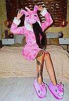 Халат Пижамы кигуруми розовый звездный единорог kmy0116