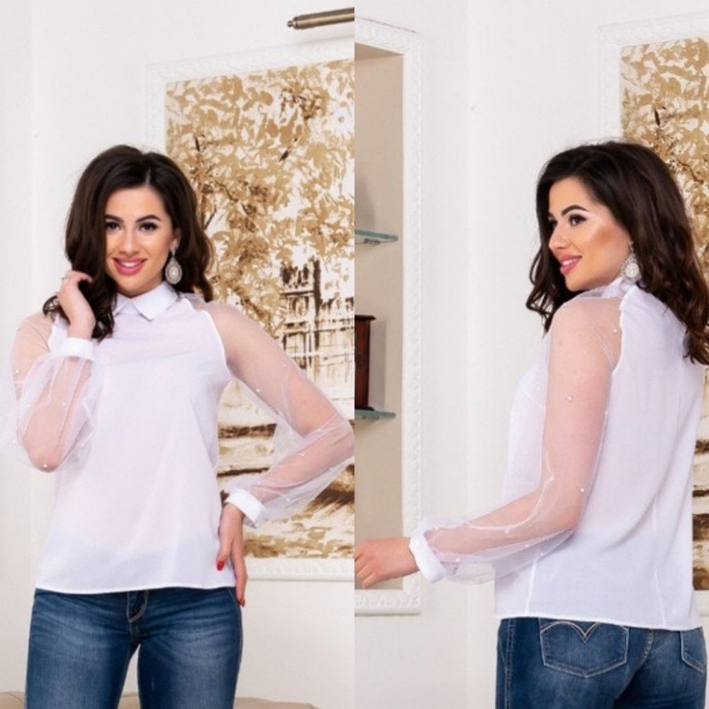 Блуза женская, белая, классическая, нарядная, шифоновая, длинный рукав сетка декор жемчугом, фото 1