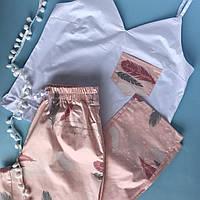 Пижама женская хлопковая перья на персике (майка + штаны)