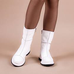 Стильные белые ботинки женские на утолщенной подошве. Зима. Деми.