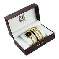 Часы в подарочной упаковке ANNE KLEIN золото черный циферблат (HT671)