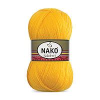 Пряжа Nako Nakolen 5 3052 желтый (нитки для вязания Нако Наколен 5) 49% шерсть - 51% премиум акрил