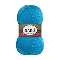 Пряжа Nako Nakolen 5 5052 бирюза (нитки для вязания Нако Наколен 5) 49% шерсть - 51% премиум акрил