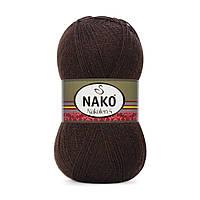 Пряжа Nako Nakolen 5 5195 коричневый (нитки для вязания Нако Наколен 5) 49% шерсть - 51% премиум акрил