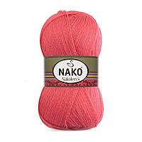 Пряжа Nako Nakolen 5 11200 коралловый (нитки для вязания Нако Наколен 5) 49% шерсть - 51% премиум акрил