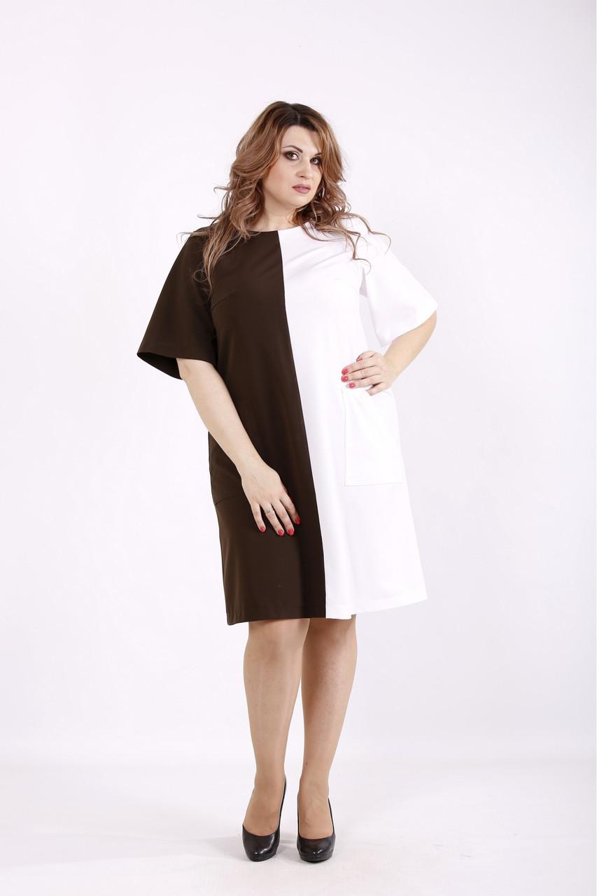 Сукня коричневе з білим жіноче ділове великого розміру 42-74. 01228-3