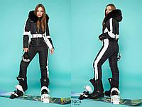 Лыжный комбинезон женский из водоотталкивающей плащевки с натуральным мехом - Черный