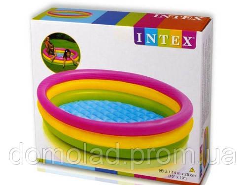 Детский Надувной Бассейн Intex 57412 Радуга 114x25 см с Надувным Дном