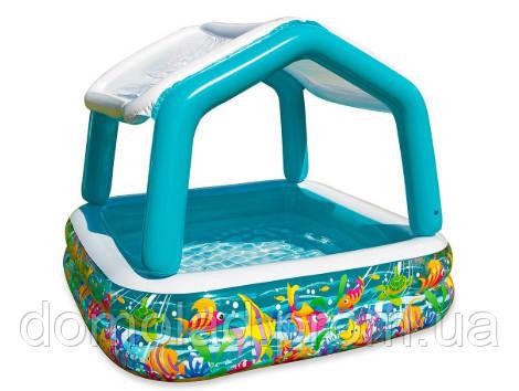 Детский Надувной Бассейн со Съемным Навесом Intex 57470 Аквариум 157х157х122 см