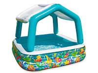 Детский Надувной Бассейн со Съемным Навесом Intex 57470 Аквариум 157х157х122 см, фото 1