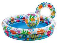 Детский Надувной Бассейн Intex 59469 Морской Риф 132x28 см С Кругом И Мячом, фото 1