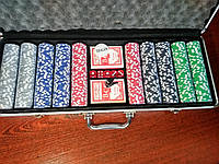 Набор для игры в покер на 500 фишек с номиналом в кейсе | новый покерный набор