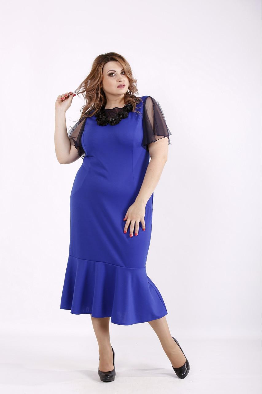 Трикотажное платье летнее нарядное электрик большого размера 42-74. 01234-3