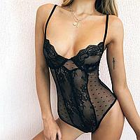 Женское боди полупрозрачное в черном цвете от 42- 48, фото 1