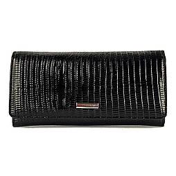 Компактний жіночий гаманець з натуральної шкіри чорний з тисненням Karya 1064-073