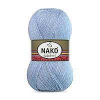 Пряжа Nako Nakolen 5 23135 светлый джинс (нитки для вязания Нако Наколен 5) 49% шерсть - 51% премиум акрил