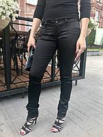 Джинсы AMN женские чёрные стрейч сатин