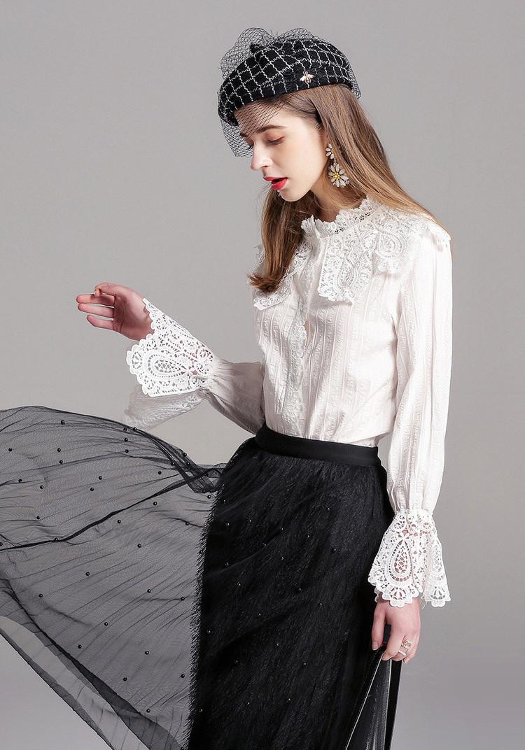 Белая ажурная рубашка (44-46)