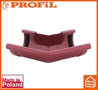 Водосточная пластиковая система PROFIL 90/75 (ПРОФИЛ ВОДОСТОК). Угол наружный Z135°. красный