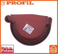 Водосточная пластиковая система PROFIL 90/75 (ПРОФИЛ ВОДОСТОК). Заглушка желоба левая L, красный