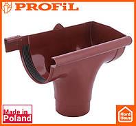 Водосточная пластиковая система PROFIL 90/75 (ПРОФИЛ ВОДОСТОК). Ливнеприемник правый P, красный
