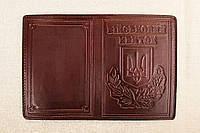 Кожаная обложка Військовий квиток шоколадный 014-003, фото 1