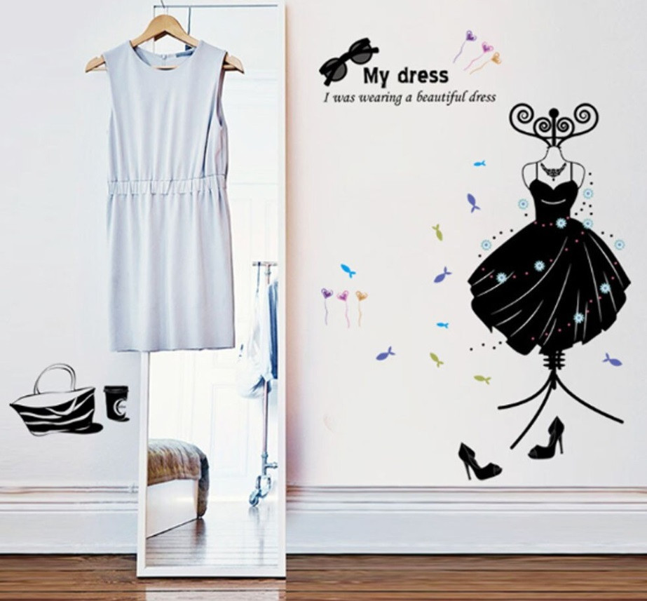 """Интерьерная наклейка """"My dress"""", цвет черный, размер 110*83 см."""