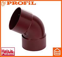 Водосточная пластиковая система PROFIL 90/75 (ПРОФИЛ ВОДОСТОК). Колено двухраструбное Ø75 60°, красный