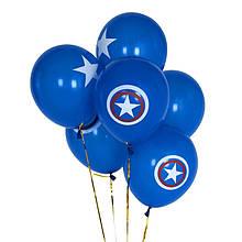 """Капитан Америка воздушные шары, ассорти 12""""(30 см) 8 шт.синие"""