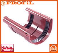 Водосточная пластиковая система PROFIL 90/75 (ПРОФИЛ ВОДОСТОК). Соединитель желоба без вкладки, красный