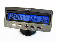 Часы автомобильные VST 7045, Авточасы Термометр Вольтметр, Электронные часы в машину,Часы с будильником в авто, фото 1
