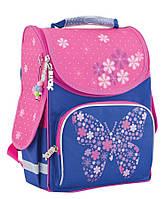 Ранец каркасный школьный Smart №553326 PG-11 Flower Butterfly Цветы/Бабочки розовый/синий для девочки